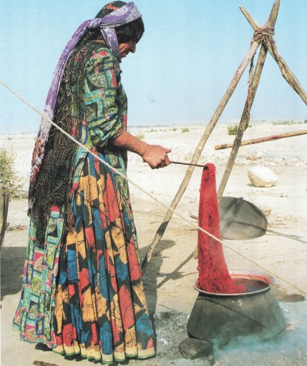 A Ghashkaï woman coloring the wool